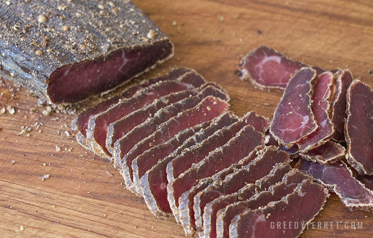perfect biltong slices on a chopping board